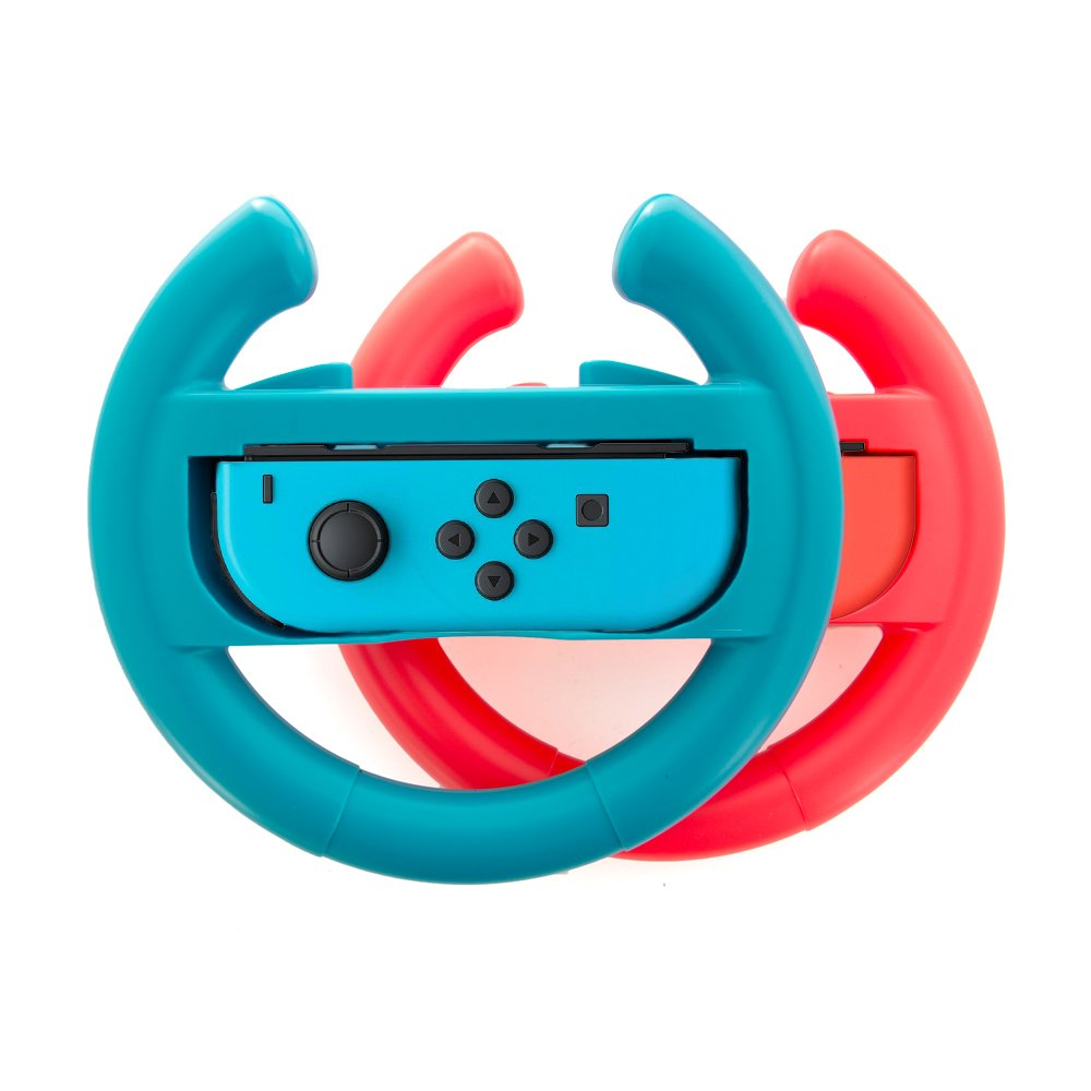 Steering Wheel handle grips for Nintendo Switch Racing Wheel Joy-con grips handle Set by Lammcou for Nintendo Switch Controller-Blue&Red