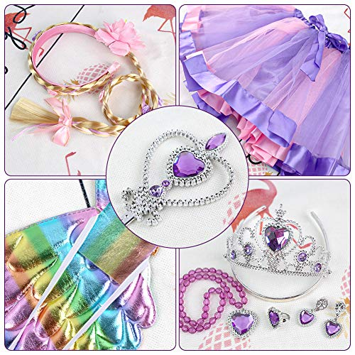 3 otters Princess Dress Up Accessories, 8PCS Princess Costume Sets with Wings Tutu Wand Crown Necklace Ring, Princess Hairpiece Fairy Accessories for Girl Dress Up Purple