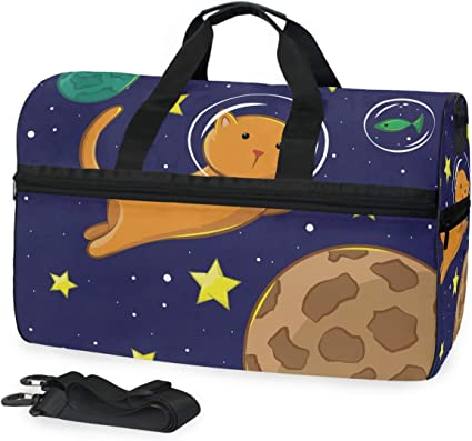 Travel Duffels Cat With An Umbrella Duffle Bag Luggage Sports Gym for Women /& Men