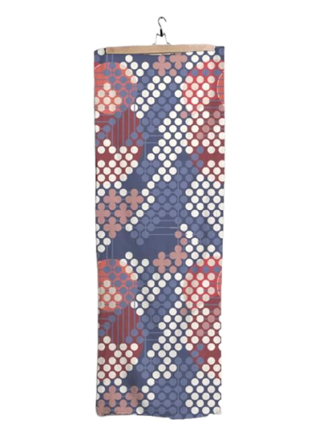 VIDA Crimson & Blue Modal Scarf (1955 Textile Design - 105) 28'' × 78'' | Original Artwork by Frank Lloyd Wright