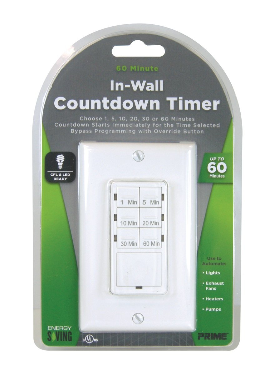 Prime Wire /& Cable TNDIW060 In-Wall 60 Minute Countdown Digital Timer
