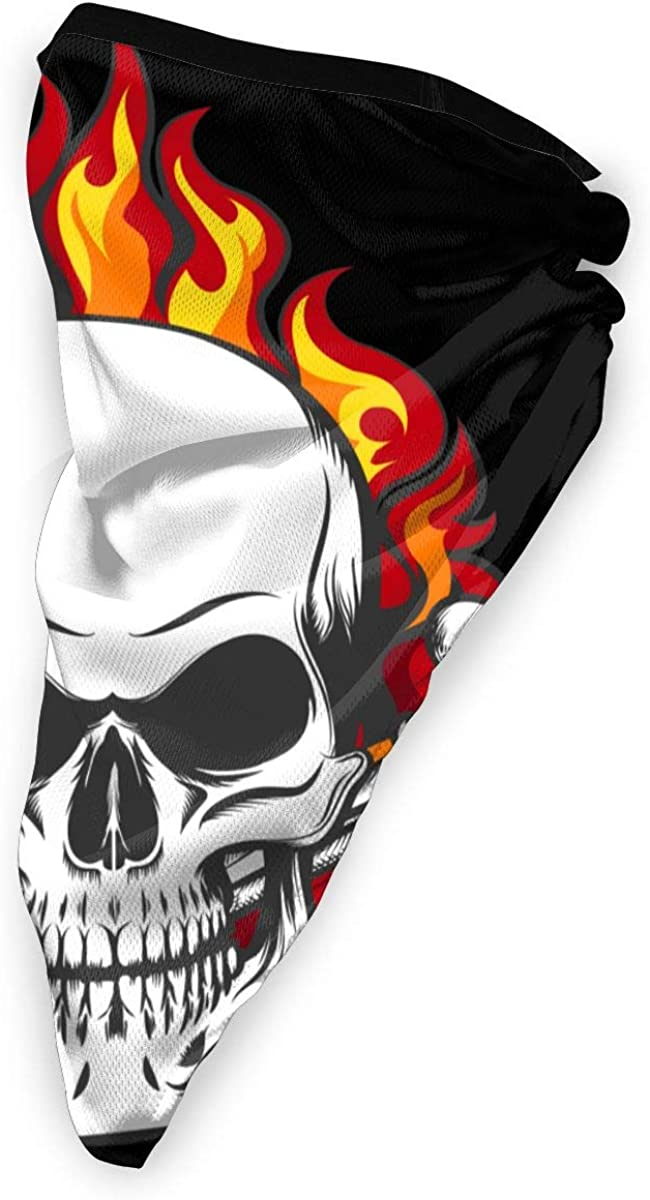Vintage Bones In Flames In Tattoo Style Neck Warmer Gaiter Windproof Sports Mask Face Motorcycle Mask Headband /& Beanie For Men Women Customized