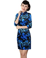 AvaCostume Women's Pleuche Chinese Party Flare Floral Cheongsam Qipao Dress Gown