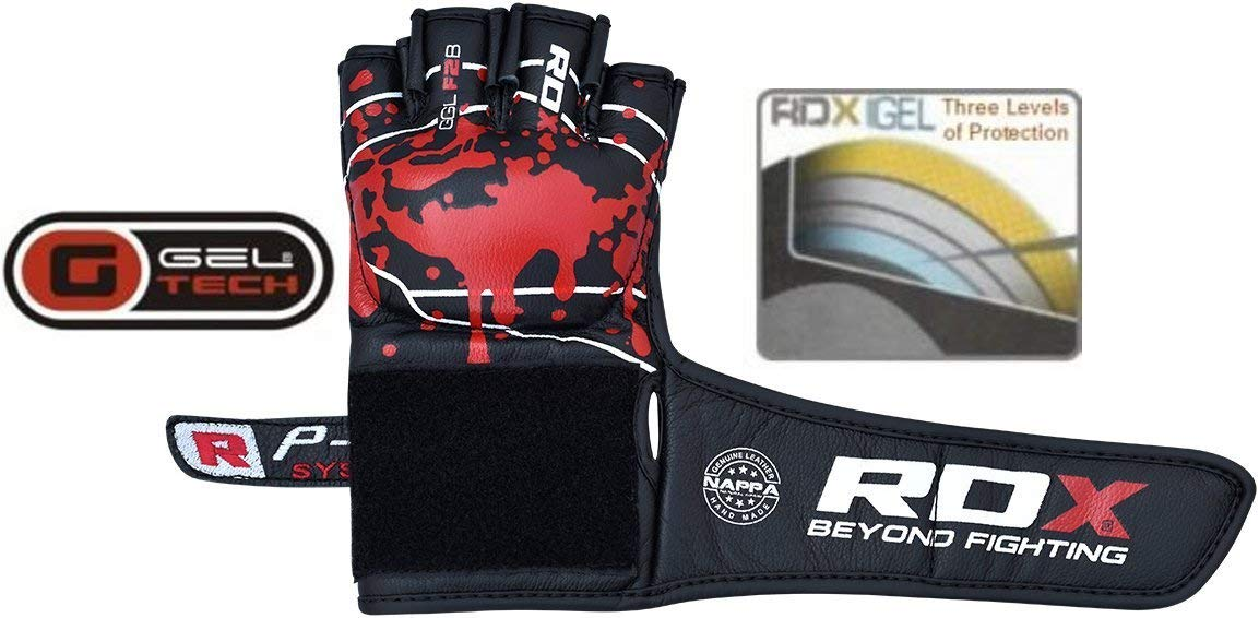 RDX MMA Gloves Sparring Martial Arts Cowhide Leather Grappling Training Cage Fighting Combat Punching Bag Gel Mitts