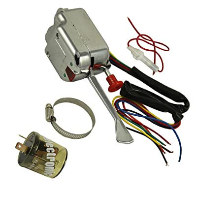 JDMSPEED New Chrome 12V Universal Street Hot Rod Turn Signal Switch For Ford GM With Flasher: Automotive [5Bkhe1509278]