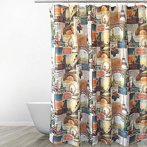 (Eforgift Retro Paris Landmark Theme Shower Curtain Water Free Polyester Soft Durable, Eiffel Tower & Ferris Wheels Art Bathroom Curtain Machine Washable & Wrinkle Resistant, 72-inch x 72-inch )