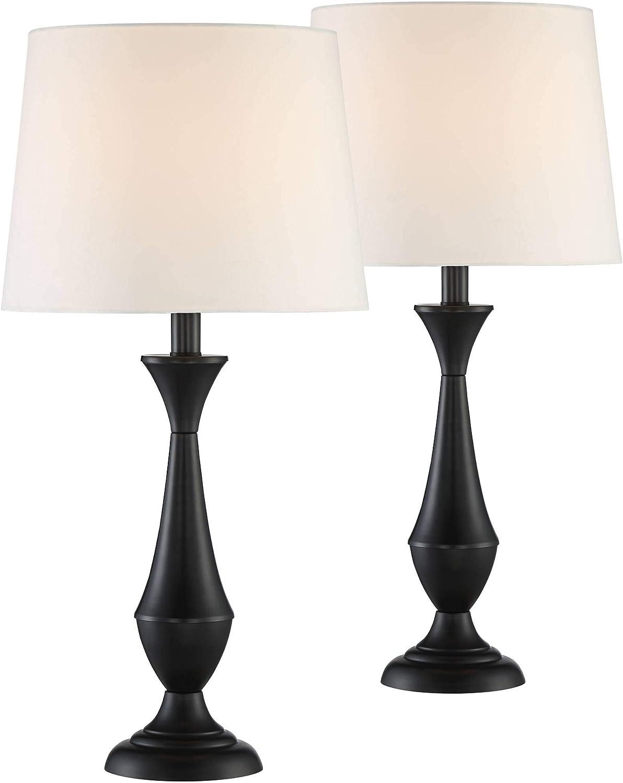 Joyce Modern Table Lamps Set of 2 Black Metal White Linen Tapered Drum Shade for Living Room Bedroom Bedside Nightstand Office Family - 360 Lighting