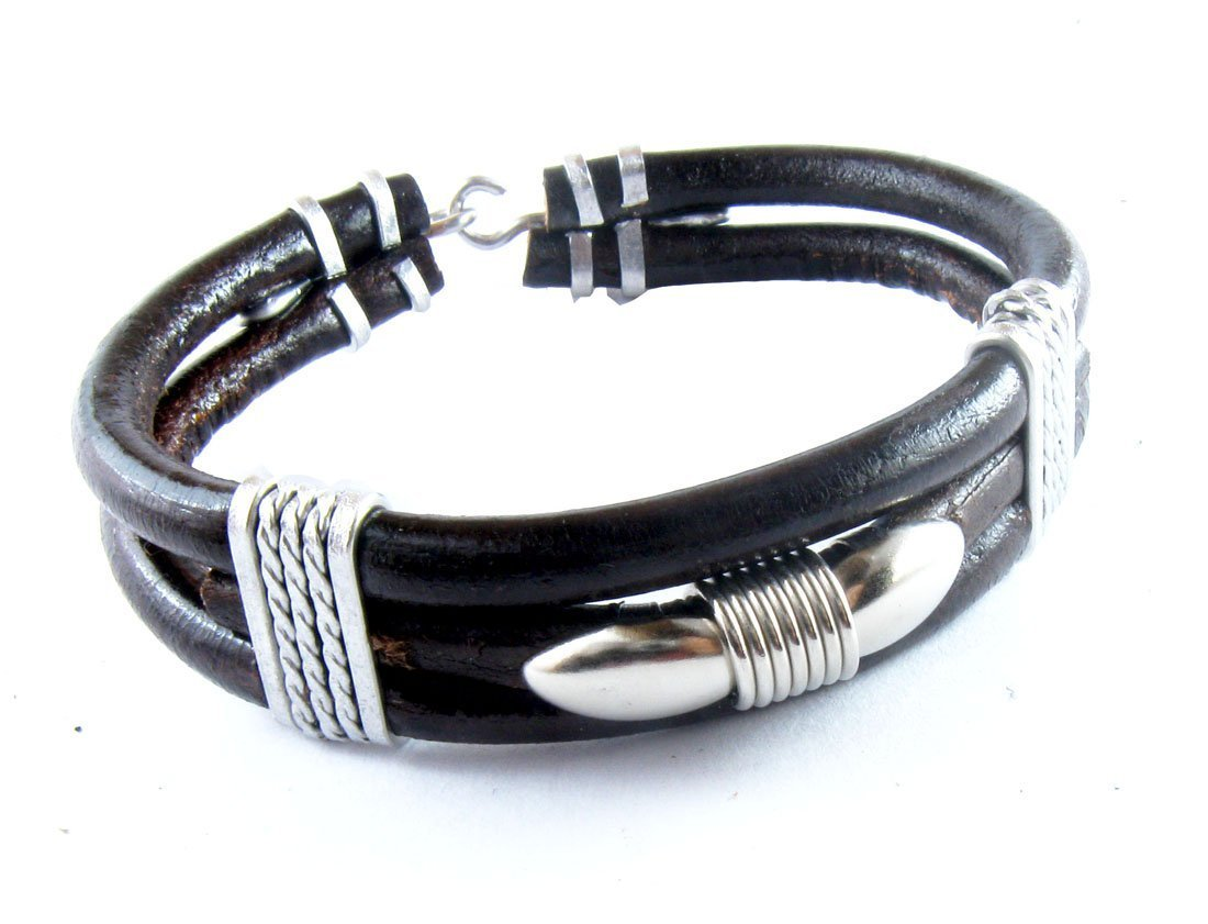 D'SHARK Tribal Style Biker Leather Bangle Bracelet Cuff Wristband for Unisex (Black)