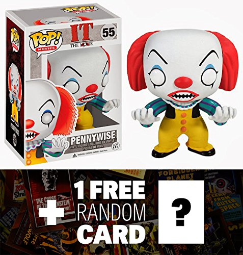 Pennywise: Funko POP! Horror Movies x Stephen King's It Vinyl Figure + 1 FREE Classic Sci-fi & Horror Movies Trading Card Bundle [33631]