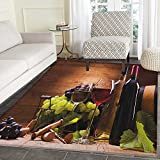 wine and grapes kitchen rugs - Wine Area Rug Carpet Glasses of Red and White Wine Served with Grapes French Gourmet Tasting Customize Door mats for Home Mat 3'x5' Brown Ruby Pale Green