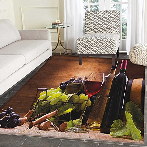 Wine Area Silky Smooth Rugs Glasses of Red and White Wine Served with Grapes French Gourmet Tasting Floor Mat Pattern 4