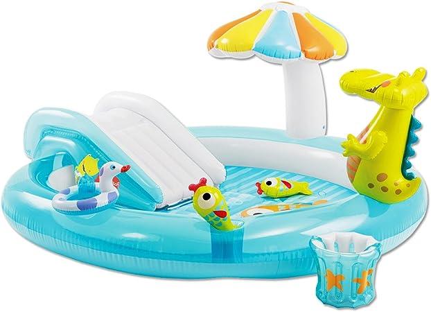 Iden Juego cocodrilo – Niño piscina con tobogán, parasol y ducha – Baby Pool: Amazon.es: Jardín