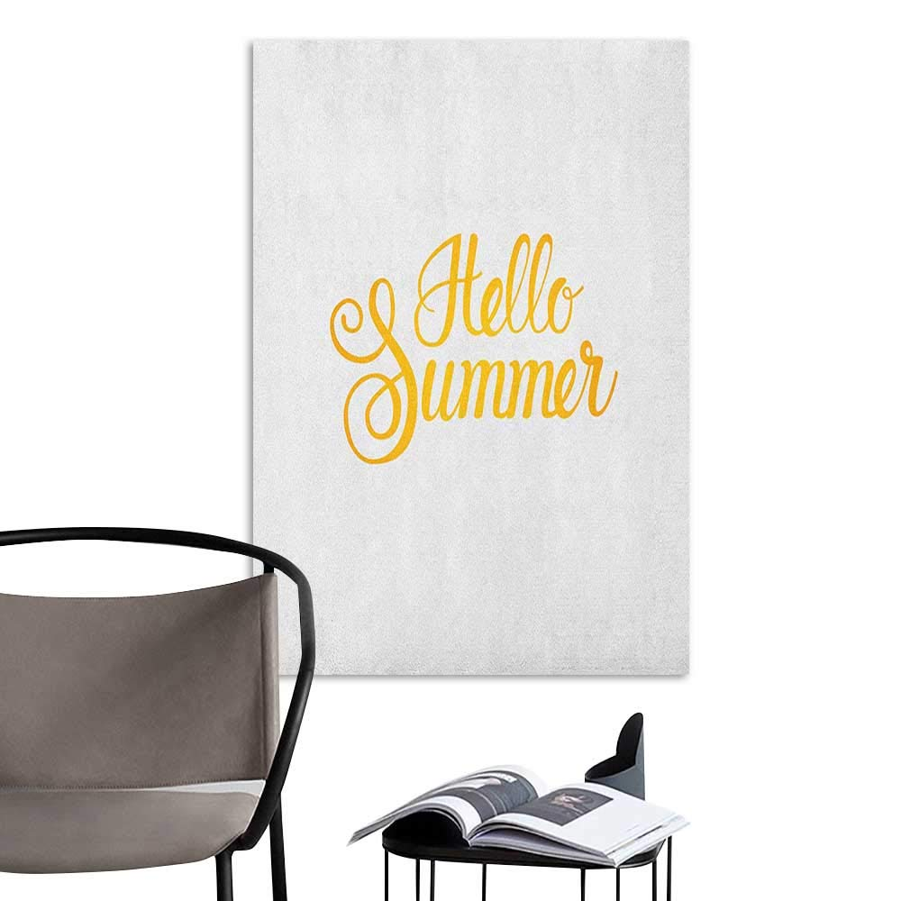 Alexandear Self Adhesive Wallpaper for Home Bedroom Decor Hello Summer Hello Summer Phrase Print in Zesty Yellow Hand Lettering Calligraphic Design Earth Yellow Living Room Wallpaper W8 x H10