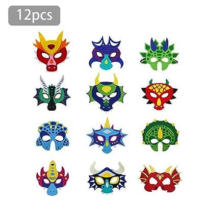 12 Piezas Fiesta Máscaras, Dragón Dinosaurio Mascarillas para Fiesta de Niños, Animal Ojo Máscaras Fieltro Máscaras con Cuerda Elástica para Cosplay Cumpleaños Festival Mascarada Actividad escolar: Hogar