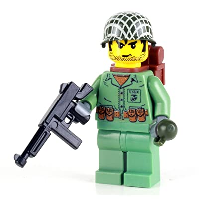 Battle Brick US Marine WW2 Soldier (SKU36) Custom Minifigure: Toys & Games
