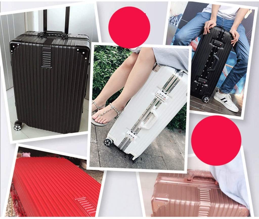 HUANGA Suitcase Luggage Aluminum Frame Trolley Case Universal Wheel 20 Student Shared Password Box 24 Boxes 26 Inch Color : Black, Size : 24 inches