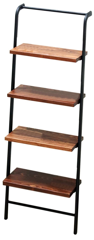 サンニード 棚付きラダーラック SHL-103 幅33.5cm 奥行16cm 高さ103cm 棚 木製 アイアン ブラウン ブラック 黒 B07CZZH6N7