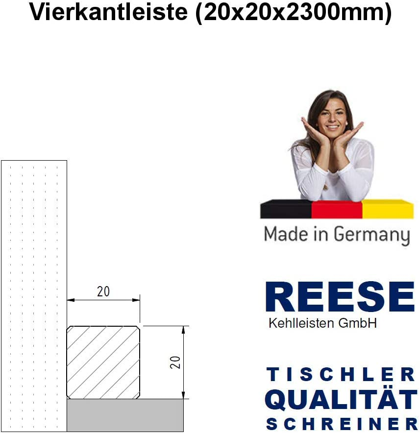 Quadratleisten Abschlussleisten Sockelleisten MDF Buche Fichte Eiche 20x20mm Buche wei/ß LACKIERT
