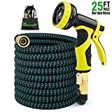 EASYHOSE Expandable Garden Hose-25 foot Extra Strength Stretch Material with Brass Connectors - Bonus 9 Way Spray Nozzle+Free Storage Bag+12 Months Manufacturers Warranty (25ft, Black+Blue)