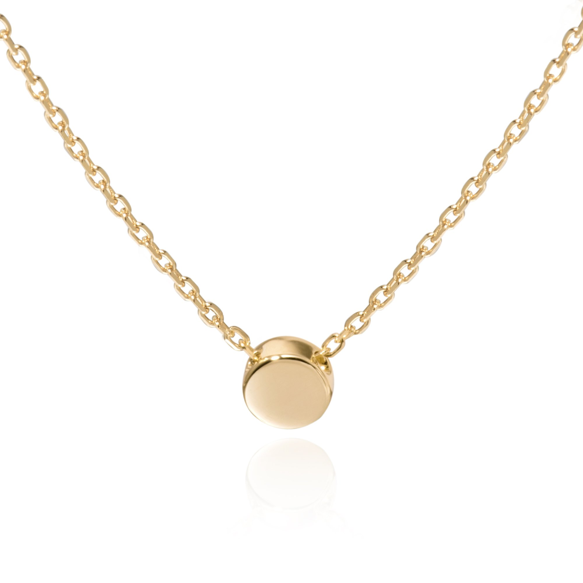 S.Leaf Gold Tiny Dot Necklace Sterling Silver Ball Pendant Circle Necklace (Gold) by S.Leaf