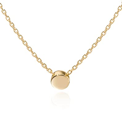 Amazon sleaf gold tiny dot necklace sterling silver ball sleaf gold tiny dot necklace sterling silver ball pendant circle necklace gold mozeypictures Choice Image