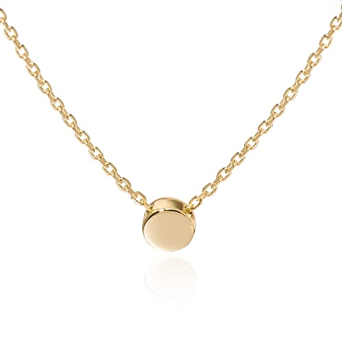 Review S.Leaf Sterling Silver Tiny Dot Necklace Round Circle Necklace for Woman