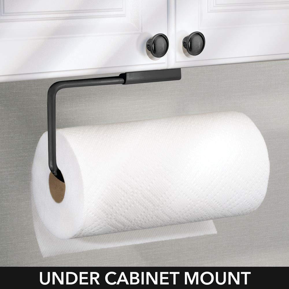 Ideal como portarrollos de pared o armarios mDesign Portarrollos de cocina Soporte para papel y pa/ños o toallero negro Almacenaje para el rollo de cocina