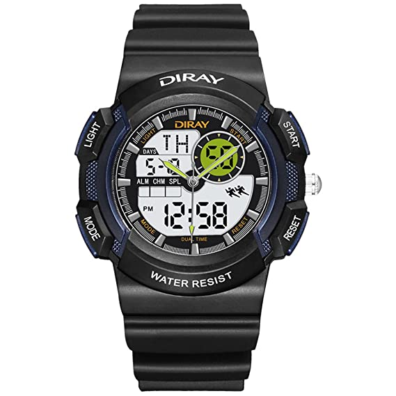 Hombre Relojes digitales,Pantalla doble Impermeable Luminoso Watch Movimiento Relojes de natación Correa con hebilla