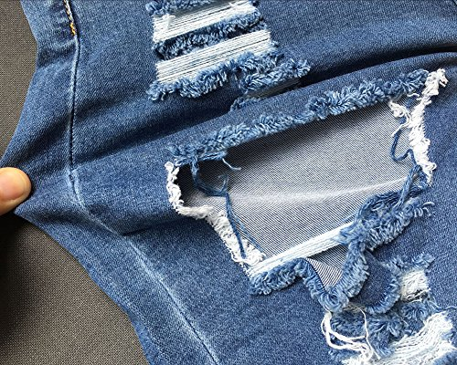Pantaloncini Vita Alta Hot Estate Pants Jeans Shorts Blu Donna Denim In Buco TqISz7wWf