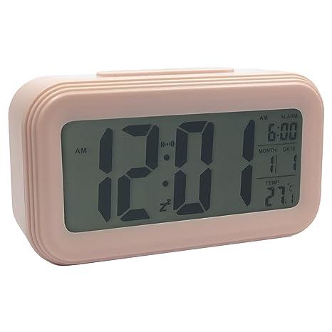 LSMY Reloj Despertador Digital con Snooze y Luz de Fondo, Digital Alarma Despertador con Fecha