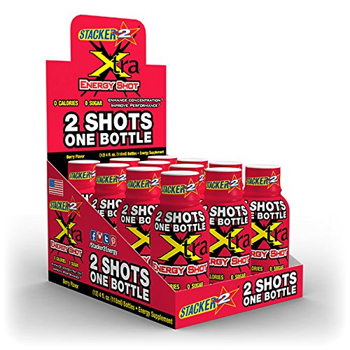 XTRA ENERGY SHOT 4OZ (NOT 2OZ) BERRY FLAVOR BY STACKER 2 (LOT OF 12 BOTTLES) FREE SHIPPING by STACKER 2