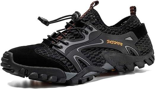 Zapatillas de senderismo para hombre, de verano, de secado rápido, para senderismo, transpirables, antideslizantes, para correr, para el tiempo libre, unisex, negro, 50: Amazon.es: Hogar