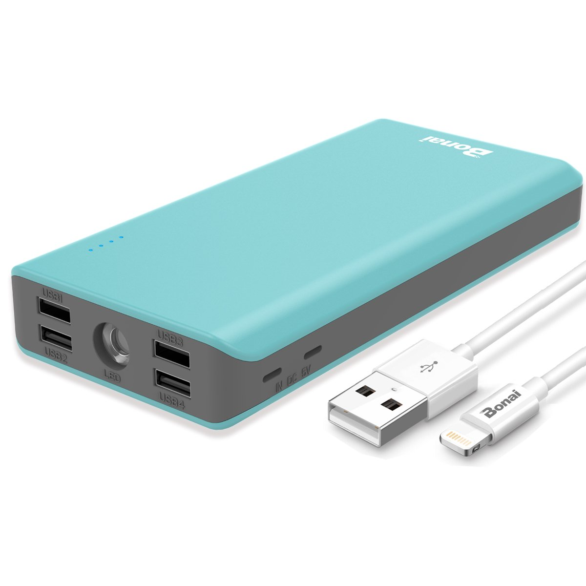 Power Bank, BONAI 32800mAh Polymer Portable Charger, Fast Recharge External Battery Pack, 4.0A Two iPhone Port Input 5.6A 4-Port Output with Flashlight for iPhone iPad Samsung Android- Mint