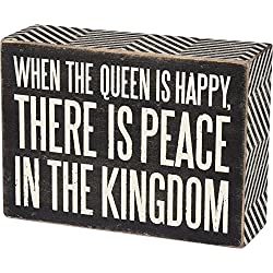 Primitives by Kathy Chevron Trimmed Box Sign, 5.5 x 4-Inches, Queen is Happy