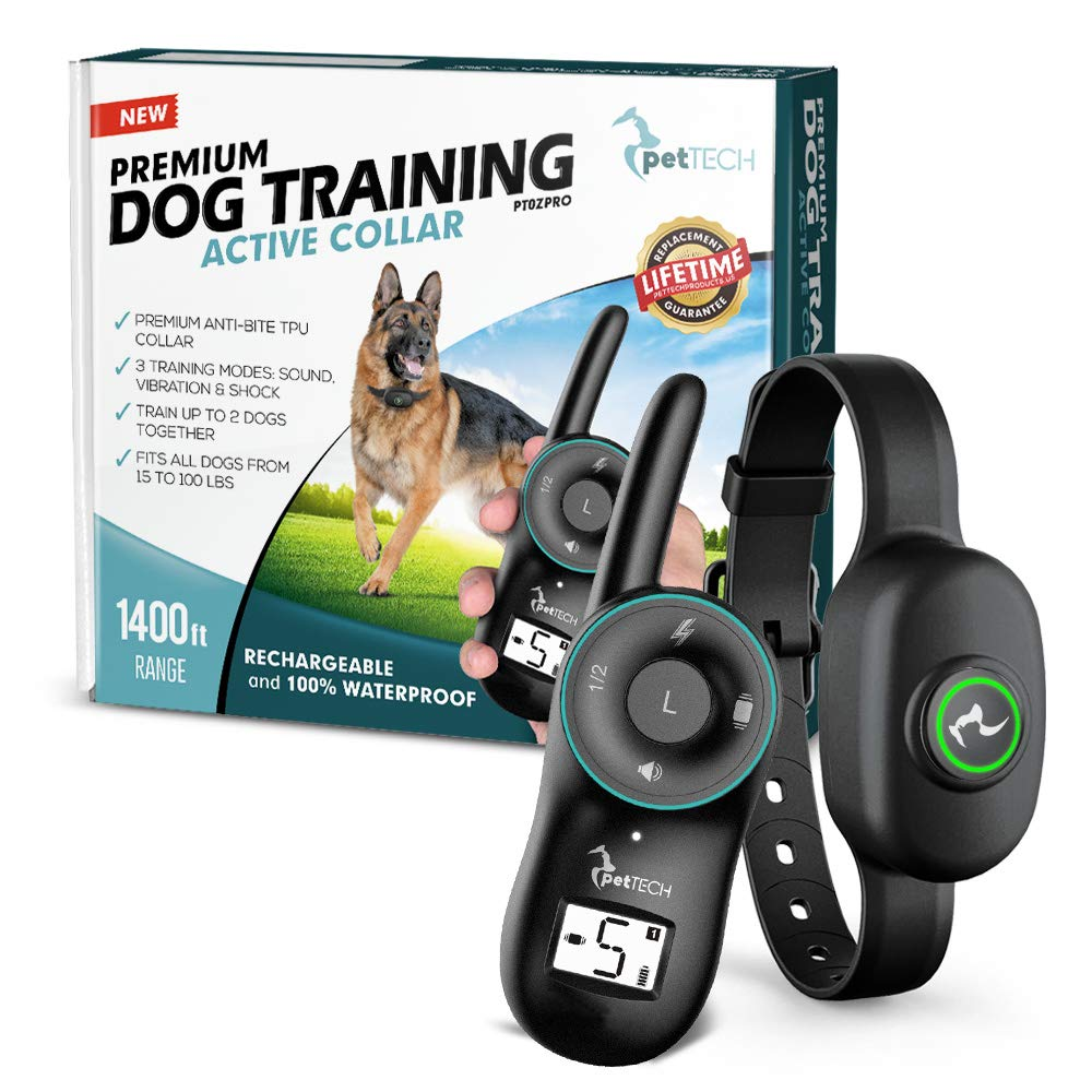 PetTech PT0ZPro Premium Dog Training Shock Collar, Fully Waterproof, 1400ft Range … (Slate)