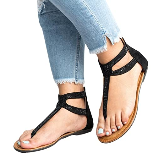 bf9eaf1de184 Amazon.com  Hot Sale ! ! SFE Women Ankle Strap Open Toe Low Wedge Gladiator  Diamond Adorn Zipper Sandals  Clothing