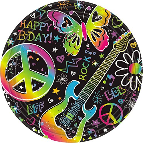 (Amscan Groovy Neon Doodle Birthday Party Dessert Paper Plates Disposable Tableware (8 Pack), 7