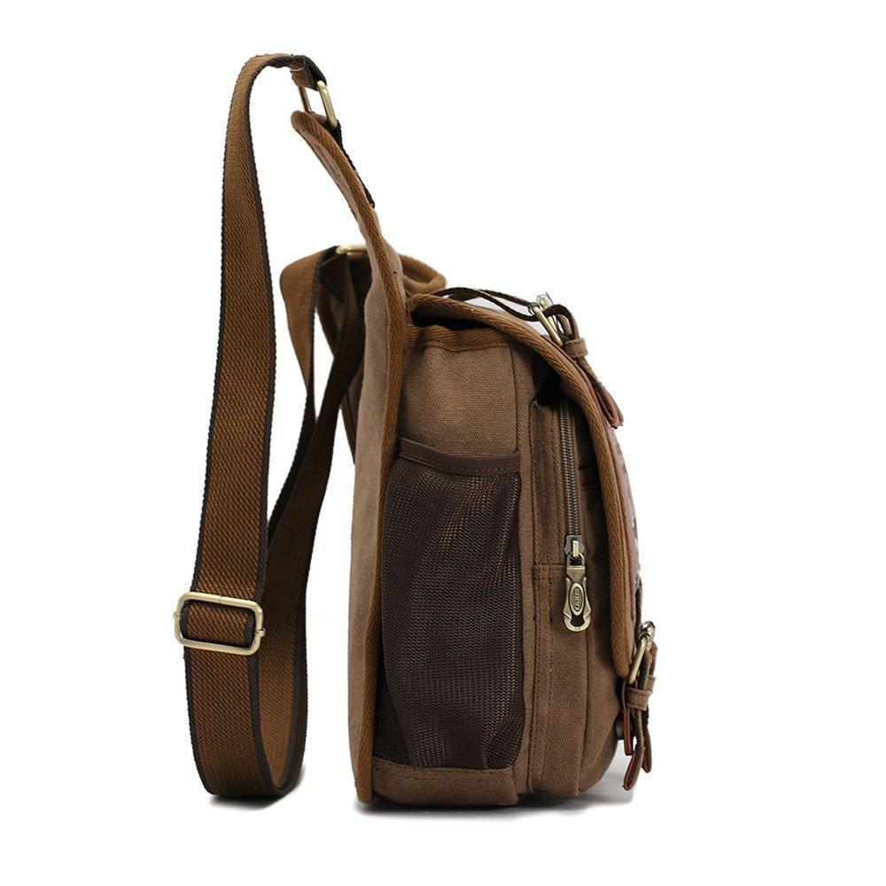 Amazon.com: APG Men's Brown Canvas Leather Single Shoulder Cross ...