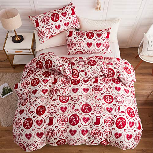 LAMEJOR Duvet Cover Sets Queen Size Christmas Theme Snowflake/Heart Pattern New Year Holiday Season Bedding Set Comforter Cover (1 Duvet Cover+2 Pillowcases) White (Queen Sets Bedding Christmas Size)