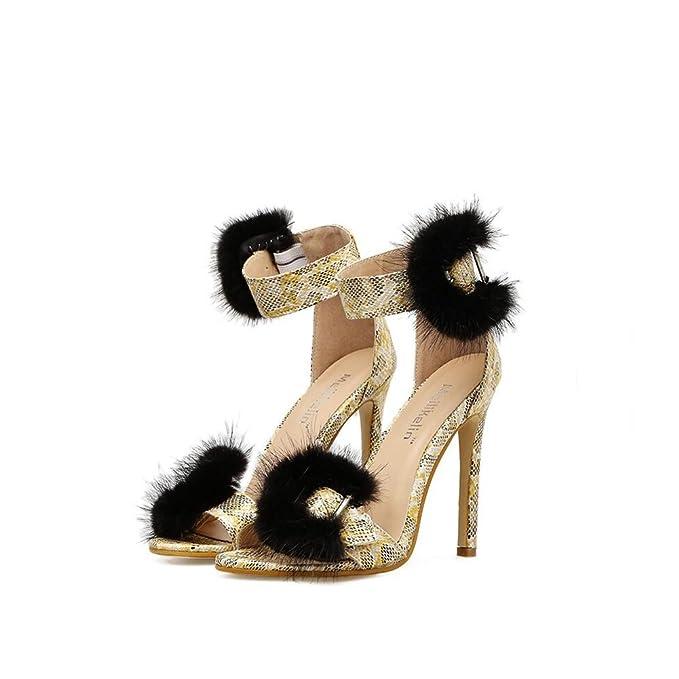 56b4c0b29e7c Amazon.com  CAI Women s Shoes Artificial Leather Spring Summer Super Roman  Sandals Fine Hollow Hairy High-heeled Serpentine High Heel Sandals (Size    36)  ...