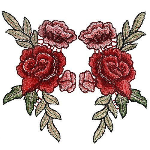 Purchase OPount 2 Pieces 7.5 x 4.1 Inch Embroidery Rose Flower Sew On Patch Badge Embroidered Floral...