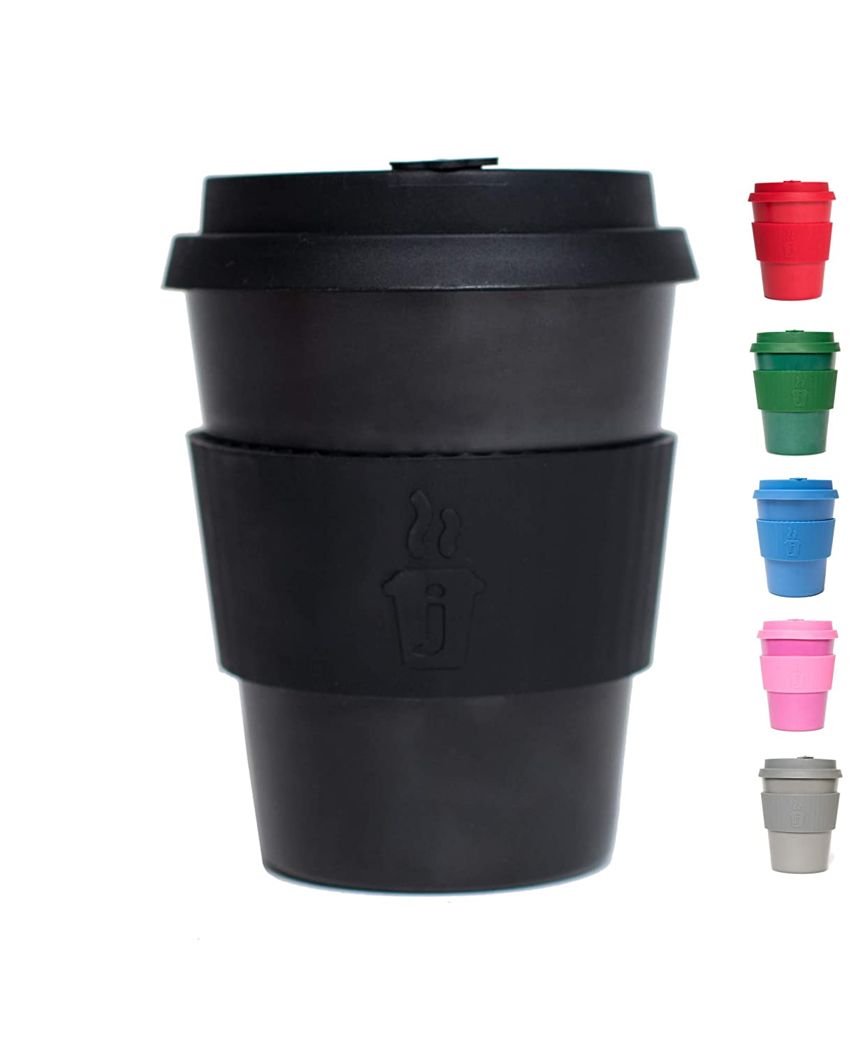 Premium Reusable Coffee Cup for Travel To Go 12oz | Takeaway Bamboo Mug with Lid & Spill Stopper | Plastic & BPA Free | Dishwasher Safe Portable Eco Cup | Organic Bamboo Fiber | Black