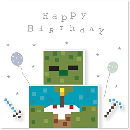 Jonathan Glick Designs Pixel Zombie Et Gâteau Carte D