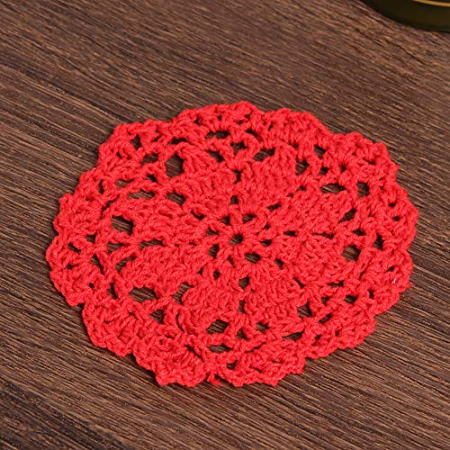 Vanyear Coasters for Drinks Round Crochet Lace Doily Floral Design Fabric Coasters Value Pack, 10pcs/Set Red Hand Crocheted Doily Coaster