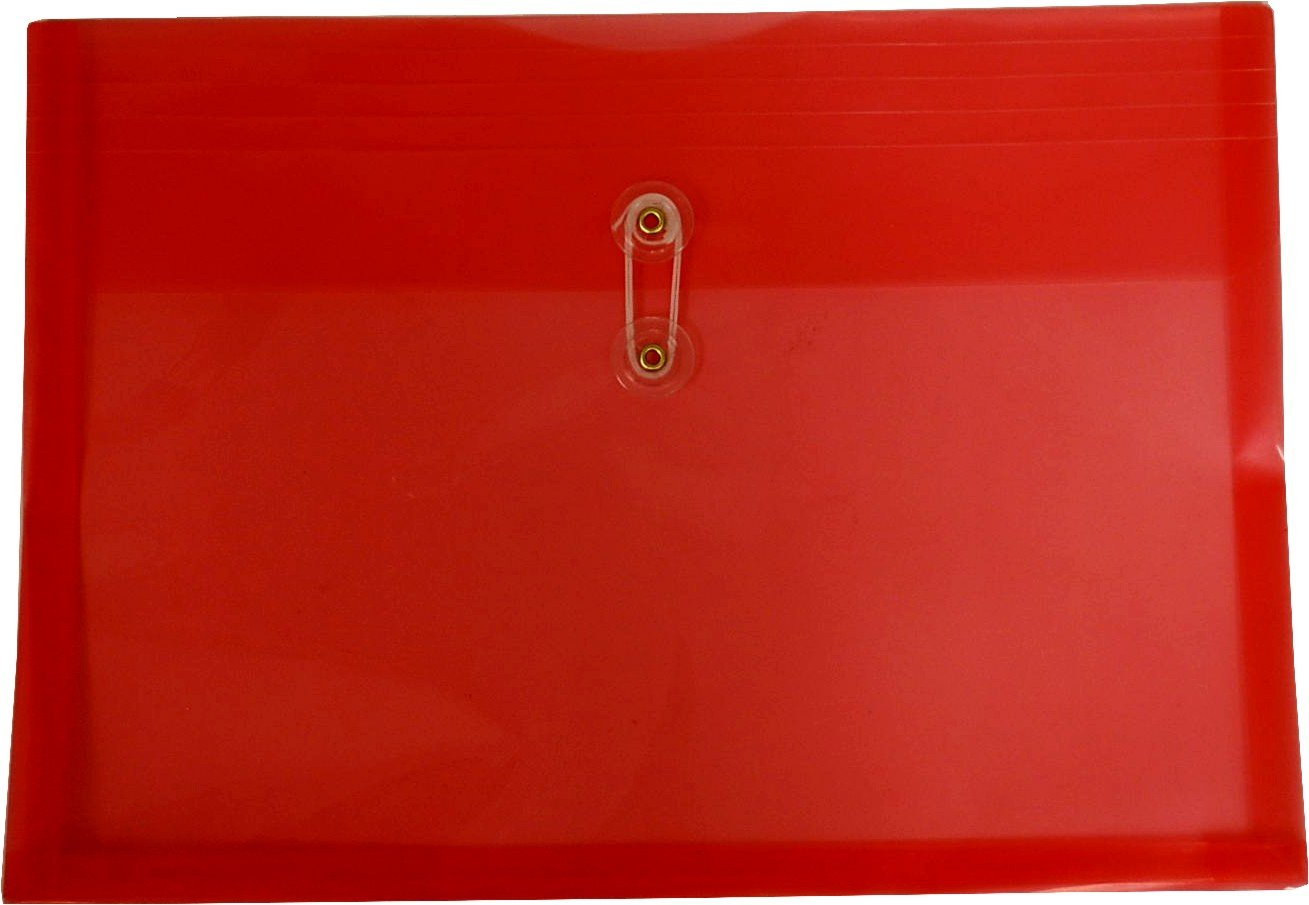 Filexec Poly envelope, Legal size, Side load, Button string closure ,Red (Pack of 6) (50067-15102)