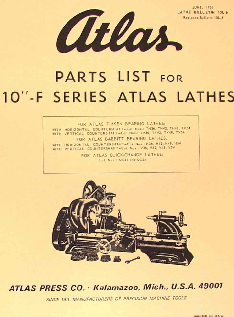 Atlas Craftsman 10 F Series Metal Lathe Parts Manual Misc Amazon Sewing Machine Threading Diagram Books