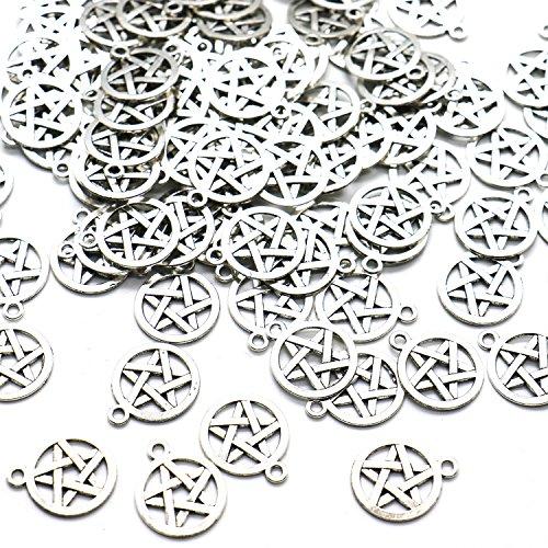 HUELE 100 Silver Tone Pentagram Charms Pendants (20x16mm)