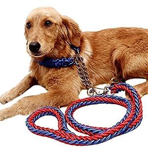 Adebie(TM) 120cm Handmade Nylon Dog Leash Rope Outdoor Pet Walking Lead Adjustable Large Dog Collar Leash Set S/M/L… Click on image for further info.