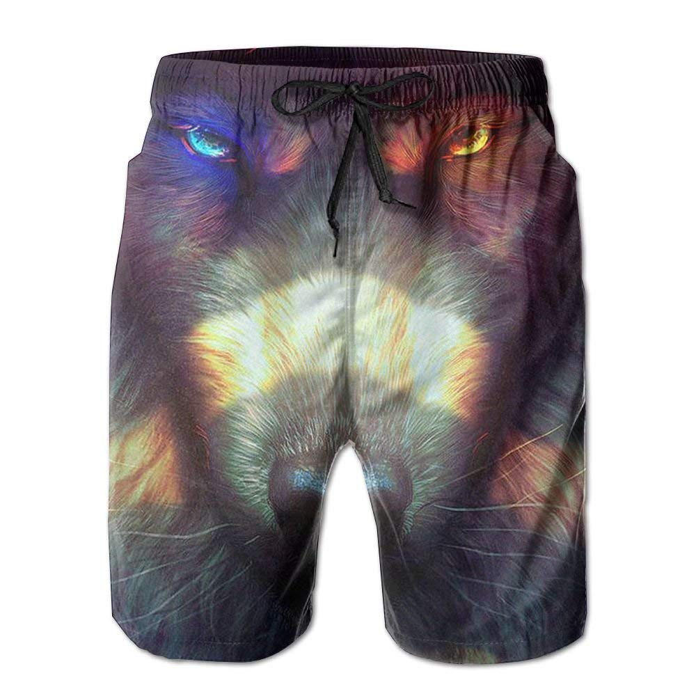 BBggyh Mens Beachwear Red Wolves with Color Eyes Summer Surf Board Shorts Holiday Swim-Trunks