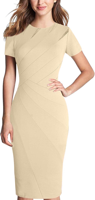 VFSHOW Womens Elegant Crew Neck Patchwork Work Business Office Sheath Dress
